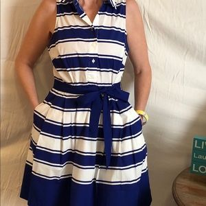 Milly for Kohl's blue and white striped dress